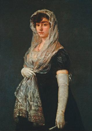 Mujer joven con mantilla y basquiña, Francisco Goya